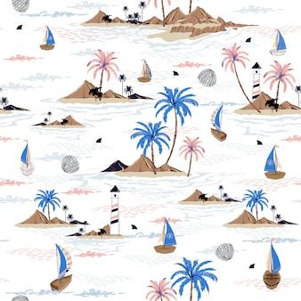 Summer seamless island pattern  ocean vector