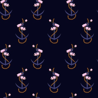 Summer seamless pattern anchor marine rope and flowers.