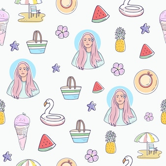 Summer seamless pattern background with girl and pineapple