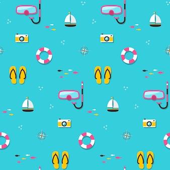 여름 원활한 패턴, 플랫 스타일의 해변 기본 요소