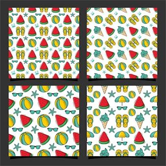 여름 원활한 패턴 디자인 컬렉션