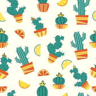 Summer seamless pattern mexican cacti in pots wedges of lemon grapefruit and lime