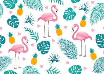 Summer seamless pattern of flamingo and tropical leaves