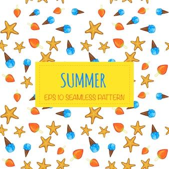 흰색 바탕에 여름 완벽 한 패턴입니다. 만화 스타일입니다. 벡터.