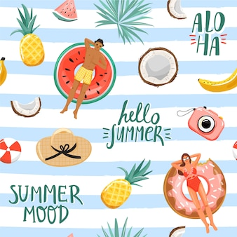 Лето бесшовные модели. отдых и отпуск коллаж.