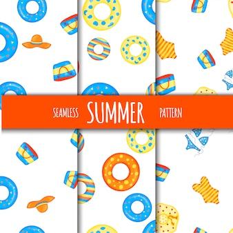 Summer seamless pattern set with beach accessories