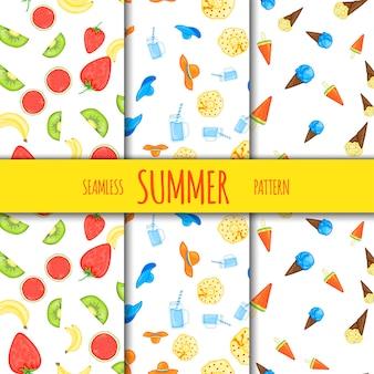 フルーツとアイスクリームをセットした夏のシームレスパターン。漫画のスタイル。ベクトルイラスト。