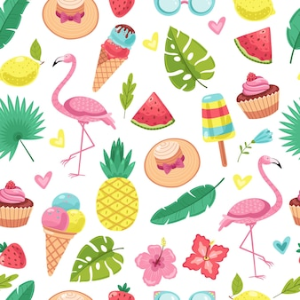Summer seamless pattern. tropical flamingo, ice cream and pineapple, leaves and cocktail, watermelon, flowers vector texture. flamingo and pineapple pattern, flower and watermelon illustration