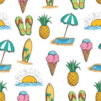 낙서 예술을 사용 하여 여름 완벽 한 패턴