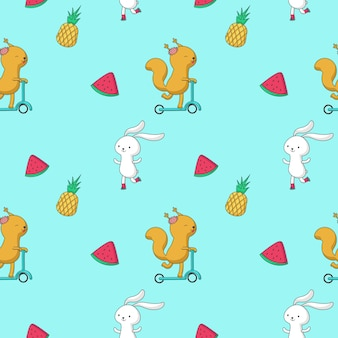 Summer seamless pattern. vector hand drawn animals bunny, squirrel and fruits pineapple and slice of watermelon.