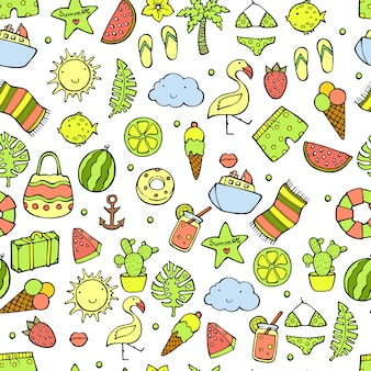 Summer seamless pattern. watermelon, pineapple, ice cream, palm tree, lemon, cactus