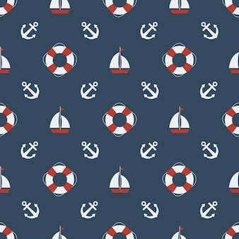 Summer seamless pattern with anchors