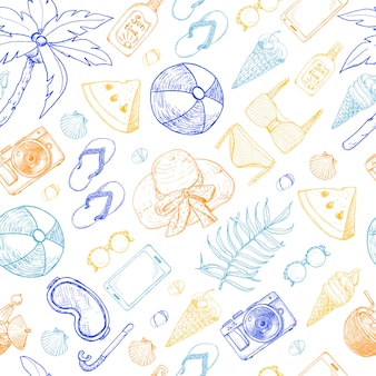 Summer seamless pattern with beach elements