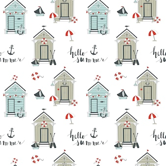 Summer seamless pattern with beach huts.