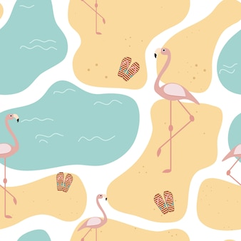 Summer seamless pattern with beach sand and flamingos