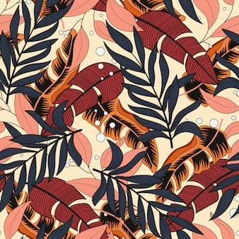 Summer seamless pattern with beautiful tropical plants and leaves