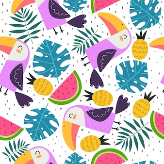 Summer seamless pattern with cartoon toucans
