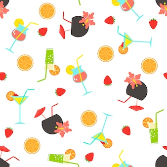 Summer seamless pattern with coctails