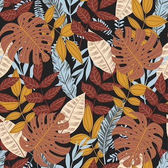 Summer seamless pattern with colorful tropical leaves and plants