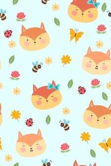 かわいいキツネと夏のシームレスなパターン。