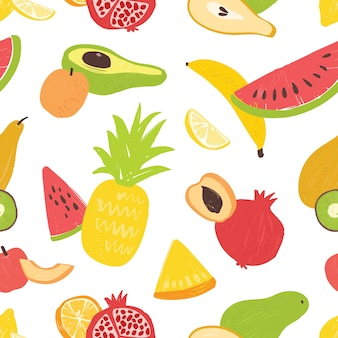 Summer seamless pattern with delicious sweet exotic fruits on white background. vegan backdrop with organic wholesome food. flat illustration for wrapping paper, textile print, wallpaper.