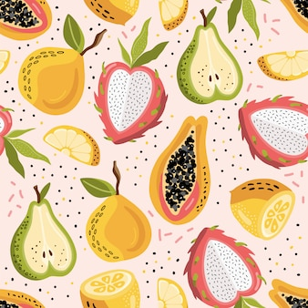 Summer seamless pattern with exotic fruits.