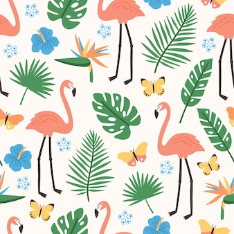 エキゾチックなジャングルの葉、ピンクのフラミンゴ、エキゾチックな咲く花と蝶の夏のシームレスパターン