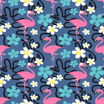 Summer seamless pattern with flamingo.