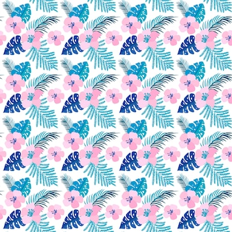 Summer seamless pattern with flat flowers and tropical leaves of monstera.
