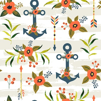 Summer seamless pattern with flower and anchor.