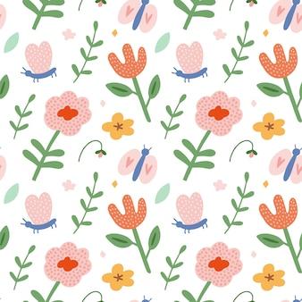 夏の花と蝶のシームレスパターン