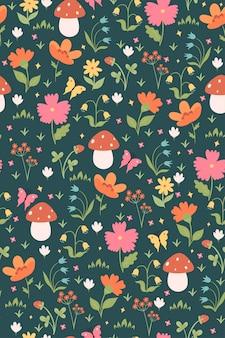 花とキノコと夏のシームレスなパターン