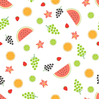 Summer seamless pattern with fruits