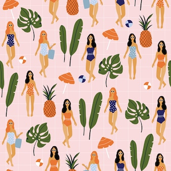 Summer seamless pattern with girl and palm leaves.