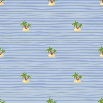 Летний бесшовный образец с зелеными пальмами и островными формами. синий полосатый фон. гавайский принт. предназначен для тканевого дизайна, текстильной печати, упаковки, обложки. векторная иллюстрация.