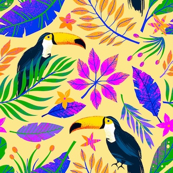 Summer seamless pattern with hand drawn tropical leaves