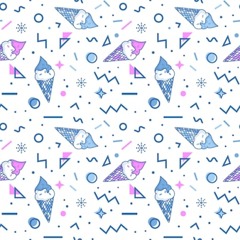 Summer seamless pattern with ice cream and abstract geometric shapes in memphis style.