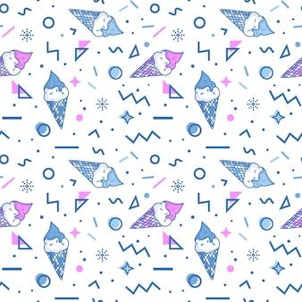 멤피스 스타일의 아이스크림과 추상적인 기하학적 모양이 있는 여름의 매끄러운 패턴입니다.