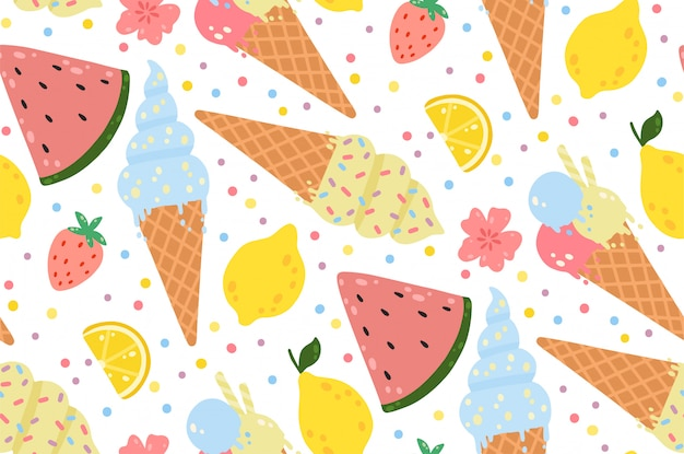 Summer seamless pattern with ice cream, lemons, strawberries, flowers, and watermelons.