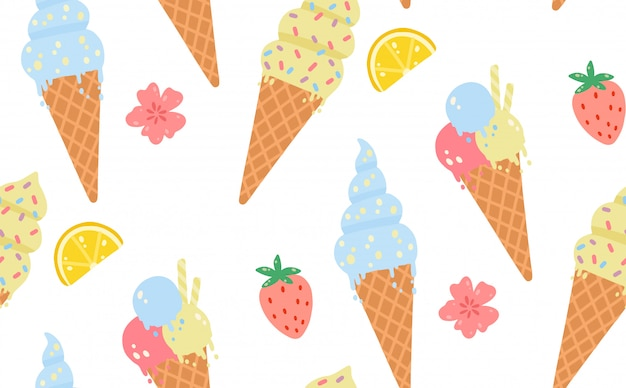 Summer seamless pattern with ice cream, lemons, strawberries, flowers.