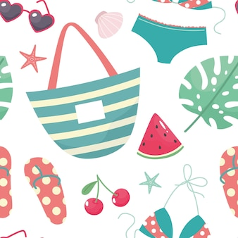Summer seamless pattern with ice cream pineapple strawberry seashells tropical leaf