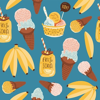 Summer seamless pattern with ice cream.