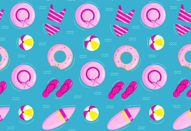 Summer seamless pattern with inflatable ring hat ball swimsuit surfboard and beach sneakers.