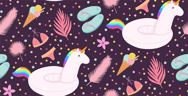 Summer seamless pattern with inflatable unicorns, ice creams, and palms leaves.
