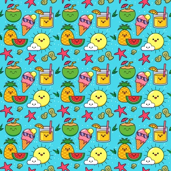 Summer seamless pattern with kawaii fruits, ice-creams and cocktails