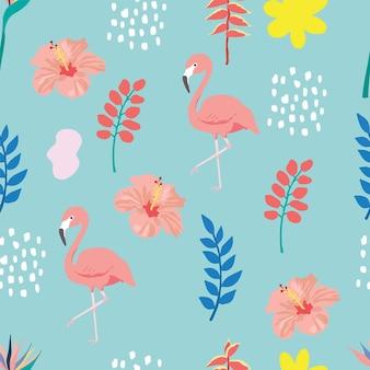 Летний фон с листьями, фламинго, гибискусом на зеленом