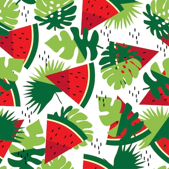 Summer seamless pattern with leaves and watermelon