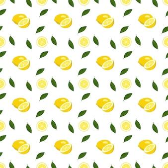 レモンと白のスライスと夏のシームレスなパターン