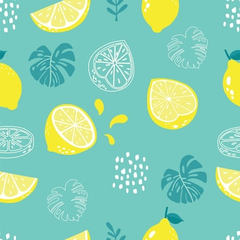 Summer seamless pattern with lemon and palm on green