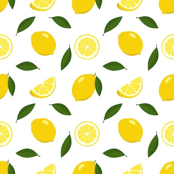 Summer seamless pattern with lemon and slices on white